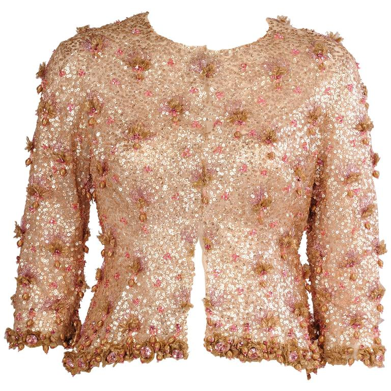 1950's Couture Level Pink and Gold Beaded and Embroidered Tulle Evening Jacket For Sale