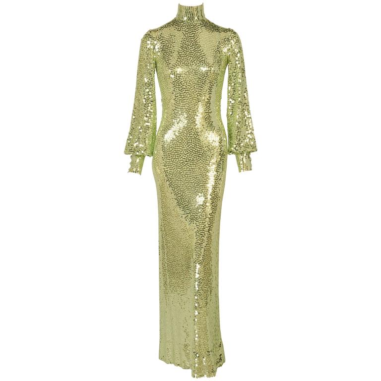 1960's-1970's Norman Norell Iconic Mermaid Gown Sparkling Green Sequins on Silk  1
