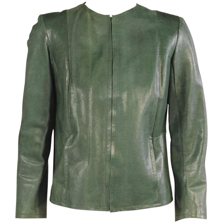 1970's Halston Deep Green Karung Snakeskin Jacket