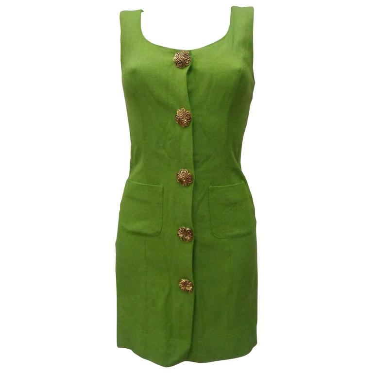 Moschino Green gold tone hardware Dress For Sale