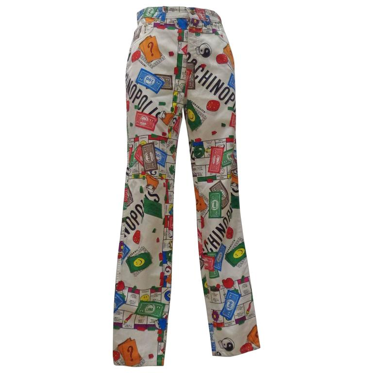 "Rare Moschino Iconic Collection  ""Moschinopoly"" Print trousers For Sale"