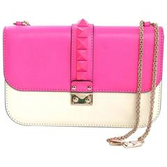 Valentino Pink & Cream Leather Rocklock Medium Rockstud Flap Bag rt. $2,295
