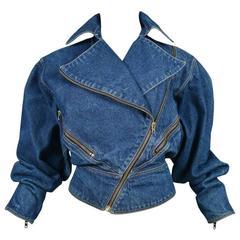 Alaia Denim Zipper Jacket 1986