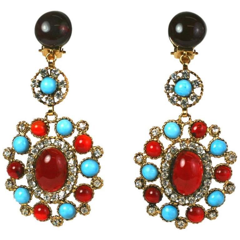 Elegant Maison Gripoix Poured Glass Earrings For Sale