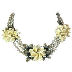 Miriam Haskell Freshwater Pearl Flower Station Necklace