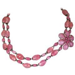 Miriam Haskell Pink Pate de Verre Bead Necklace
