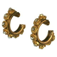 Miriam Haskell Pearl and Gilt Hoop Earclips
