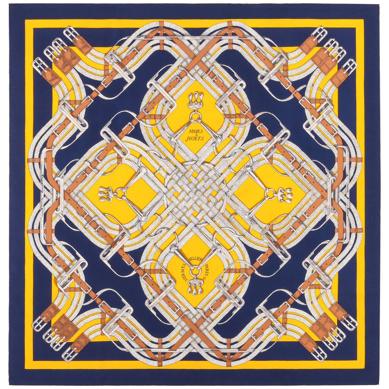 "HERMES Henri d'Origny ""Mors a Jouets"" Navy Yellow Equestrian Print Silk Scarf"