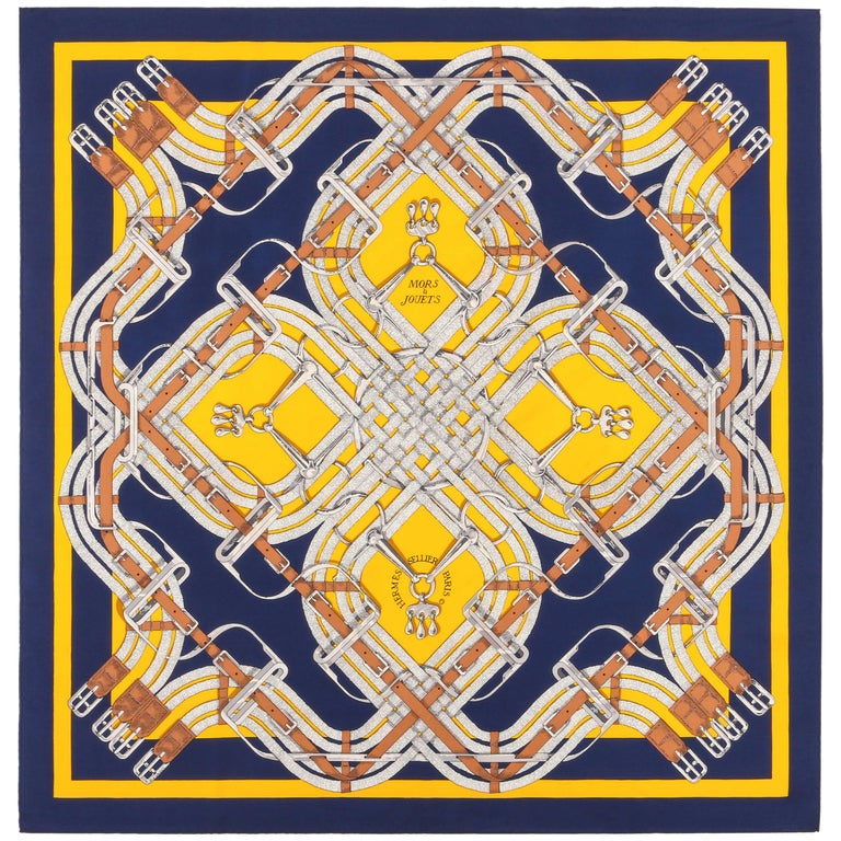 """HERMES Henri d'Origny """"Mors a Jouets"""" Navy Yellow Equestrian Print Silk Scarf For Sale"""
