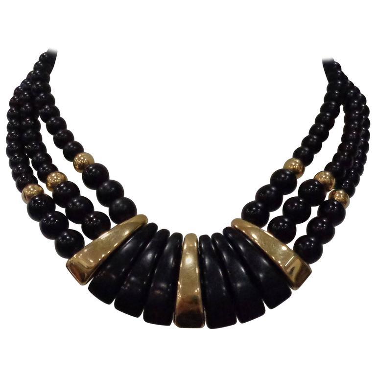 Napier Black Gold Stone Necklace For Sale