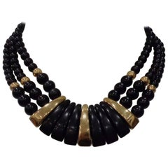 Napier Black Gold Stone Necklace
