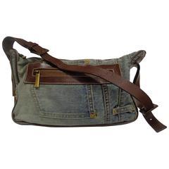 Dolce & Gabbana Denim Brown Leather Shoulder Bag