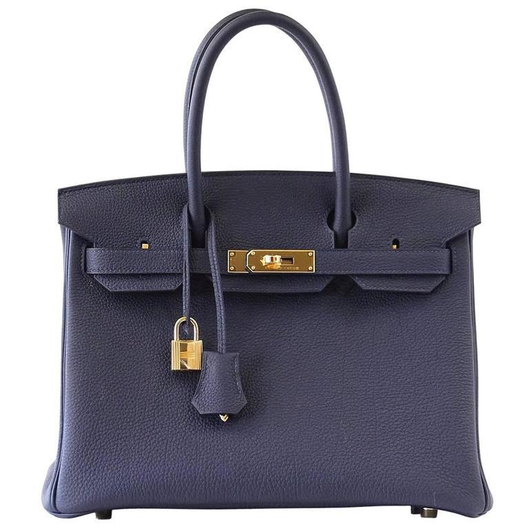 Hermes Birkin 30 Bag Blue Nuit Togo Gold Hardware