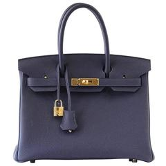 Hermes Birkin 30 Bag Blue Nuit Togo Gold Hardware