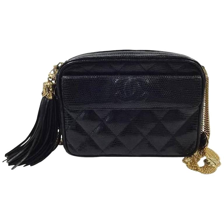 Chanel Black Crocodile Gold Evening Camera Shoulder Bag