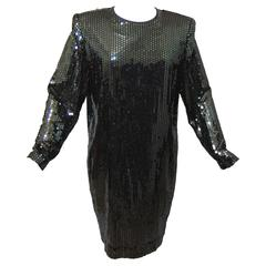 Steven Stolman Black Long Sleeve Disco Dress with Sequins Size 12 1980s