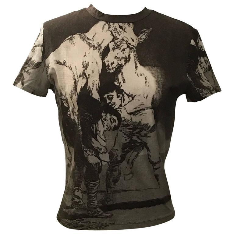 Alexander McQueen 1990s Goya Los Caprichos Etching Print Shirt T-Shirt Brown 1