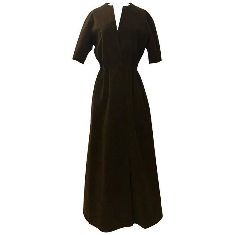 Halston Chocolate Brown Ultrasuede Long Maxi Coat Dress, 1970s