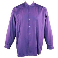 Comme des Garcons Men's Purple Gray Nehru Collar Long Sleeve Shirt