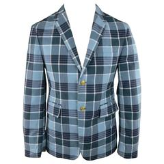 Men's THOM BROWNE 38 Teal Blue Plaid Nylon Gold Anchor Button Sport Coat