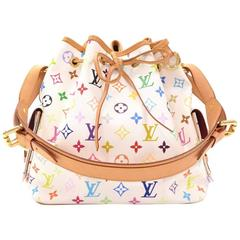 Louis Vuitton Petit Noe White Multicolored Monogram Canvas Shoulder Bag
