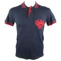 JOHN GALLIANO Size S Navy & Red Skull & Cards Logo Pique Ruffle Closure Polo