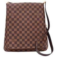 Louis Vuitton Musette Ebene Damier Canvas Large Shoulder Bag