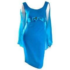 Amazing 1960s Turquoise Blue Chiffon Vintage Wiggle 60s Dress w/ Attached Cape