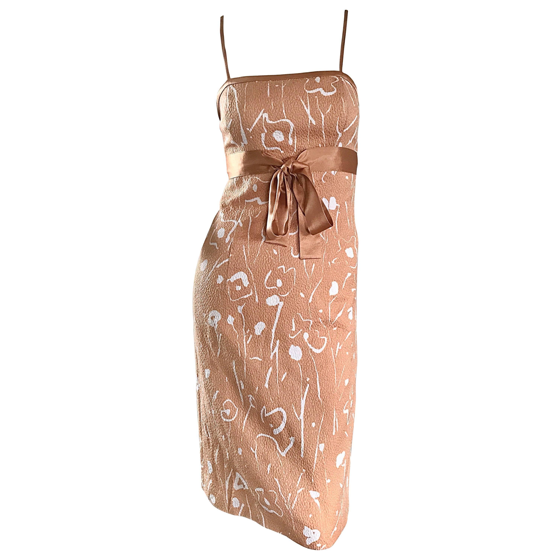 1990s Luca Luca Italian Peach Pink White Floral Abstract Silk Sleeveless Dress