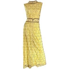 Yellow Silk Lace Beaded Pearl Sequin High Neck Vintage Gown, 1960s