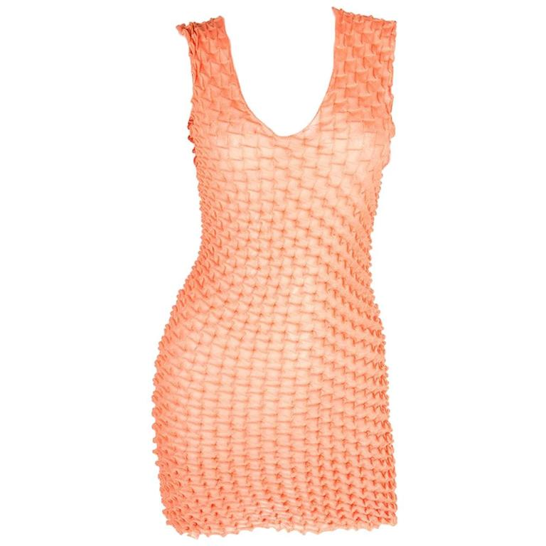 Issey Miyake Pleats Please Textured Pleated Orange Mini Dress 1