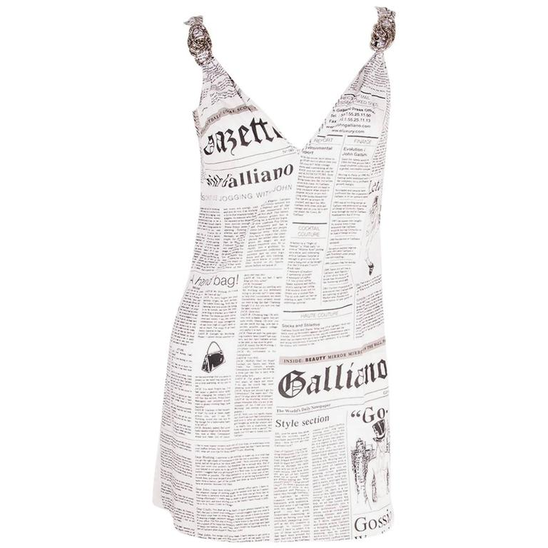 John Galliano Iconic Newspaper Print Dress 1