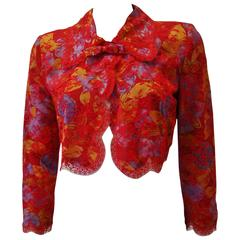 Unique Atelier Versace Red Lace Floral Silk Print Bolero