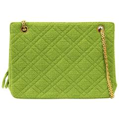 1990's Chanel Acid Green Wool Bouclé Shoulderbag