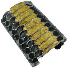 Yves Saint Laurent YSL Massive Snakeskin Effect Cuff Bracelet