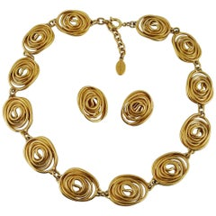 Balenciaga Vintage Spiral Necklace and Earrings Set