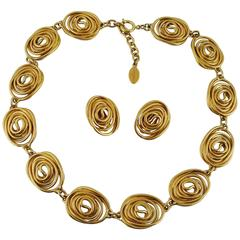 Balenciaga Vintage Goossens Spiral Necklace and Earrings Set