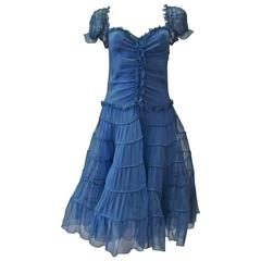 Moschino Sheer Silk Chiffon Gypsy Dress 1990's