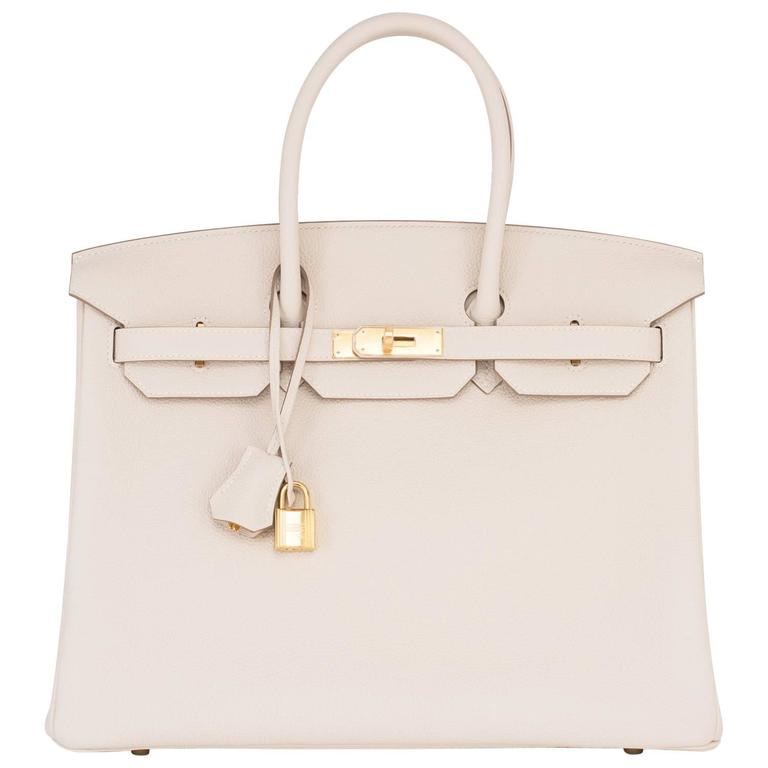 79fa60d6cc9f Hermes Craie 35cm Togo Birkin Off White Chalk Gold Hardware Fabulous For  Sale