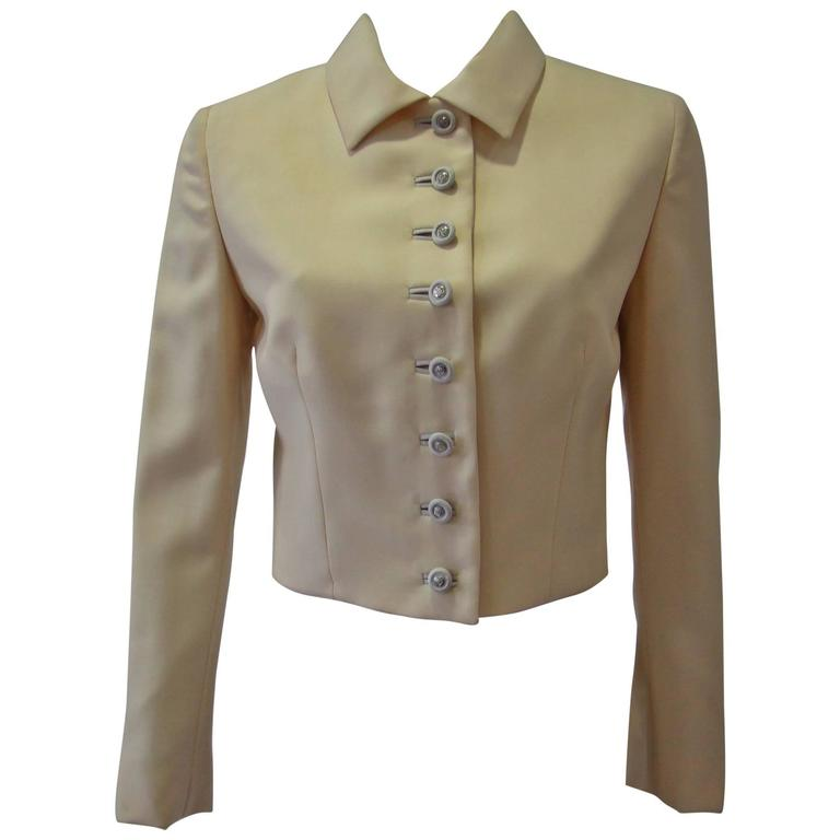 Gianni Versace Couture Cool Wool Creme Short Jacket For Sale