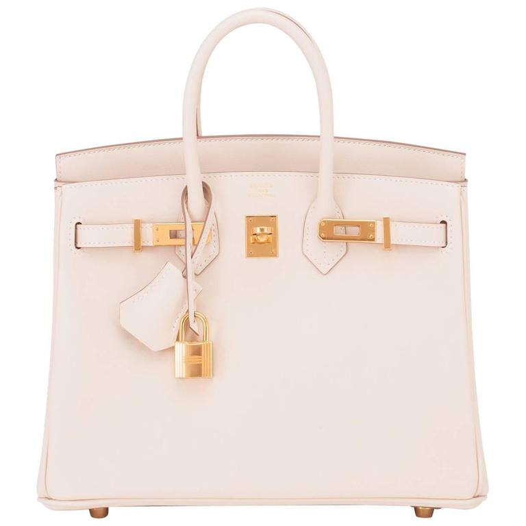 Hermes Craie Baby Birkin 25cm Bag Off White Chalk Swift Gold Hardware 1