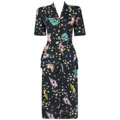 GEORGIANA c.1940's Navy Blue Rayon Crepe Floral Seashell Print Peplum Day Dress