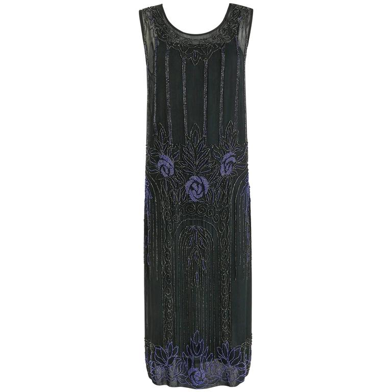 COUTURE c.1920's Black Silk Chiffon Art Deco Beaded Flapper Cocktail Slip Dress 1