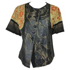 Dries Van Noten mixed fabric embroidered short sleeve jacket 40