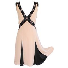 Temperley London Signature Pale Pink and Black Dress Beading and  Appliqué