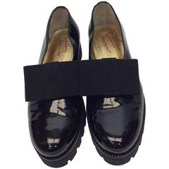 Steiger Black Patent Flats with Elastic Bow