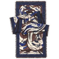 EMILIO PUCCI Wool Silk Multicolor Abstract Signature Print Oblong Scarf