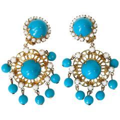 1960s Kenneth Jay Lane Chandelier Earrings Turquoise/White Filigree