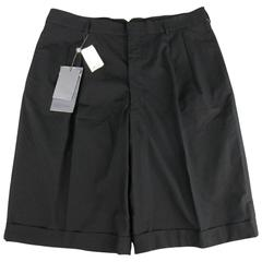 Men's ALEXANDER MCQUEEN Size 36 Black Cotton Pleated Cuffed Shorts