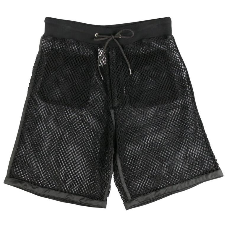 Men's MOSCHINO COUTURE Size 30 Black Fishnet Mesh Drawstring Shorts 1